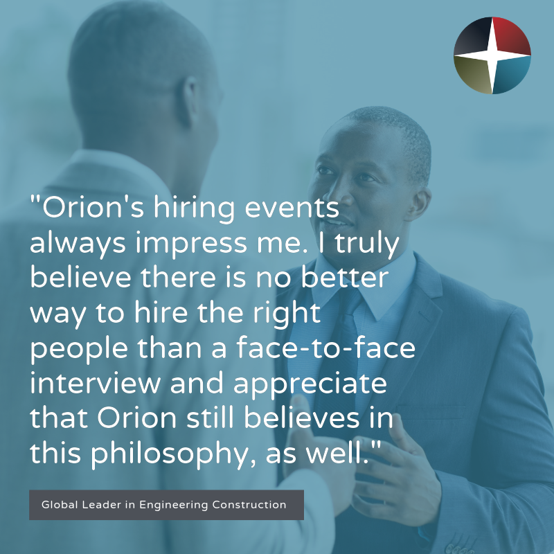 Testimonial about Orion's hiring events