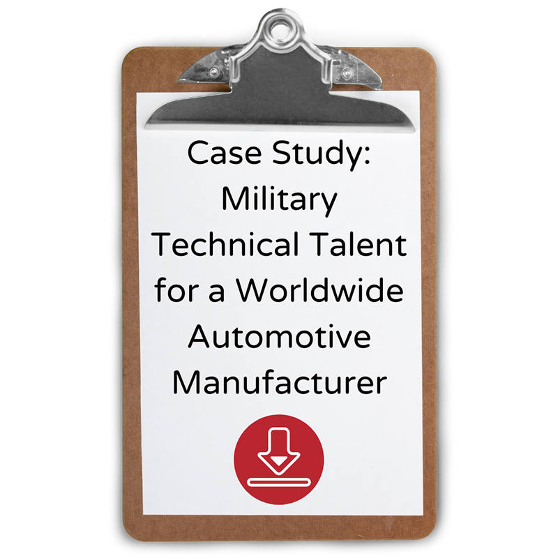 Military Technical Talent for a Worldwide Automotive Manufacturer